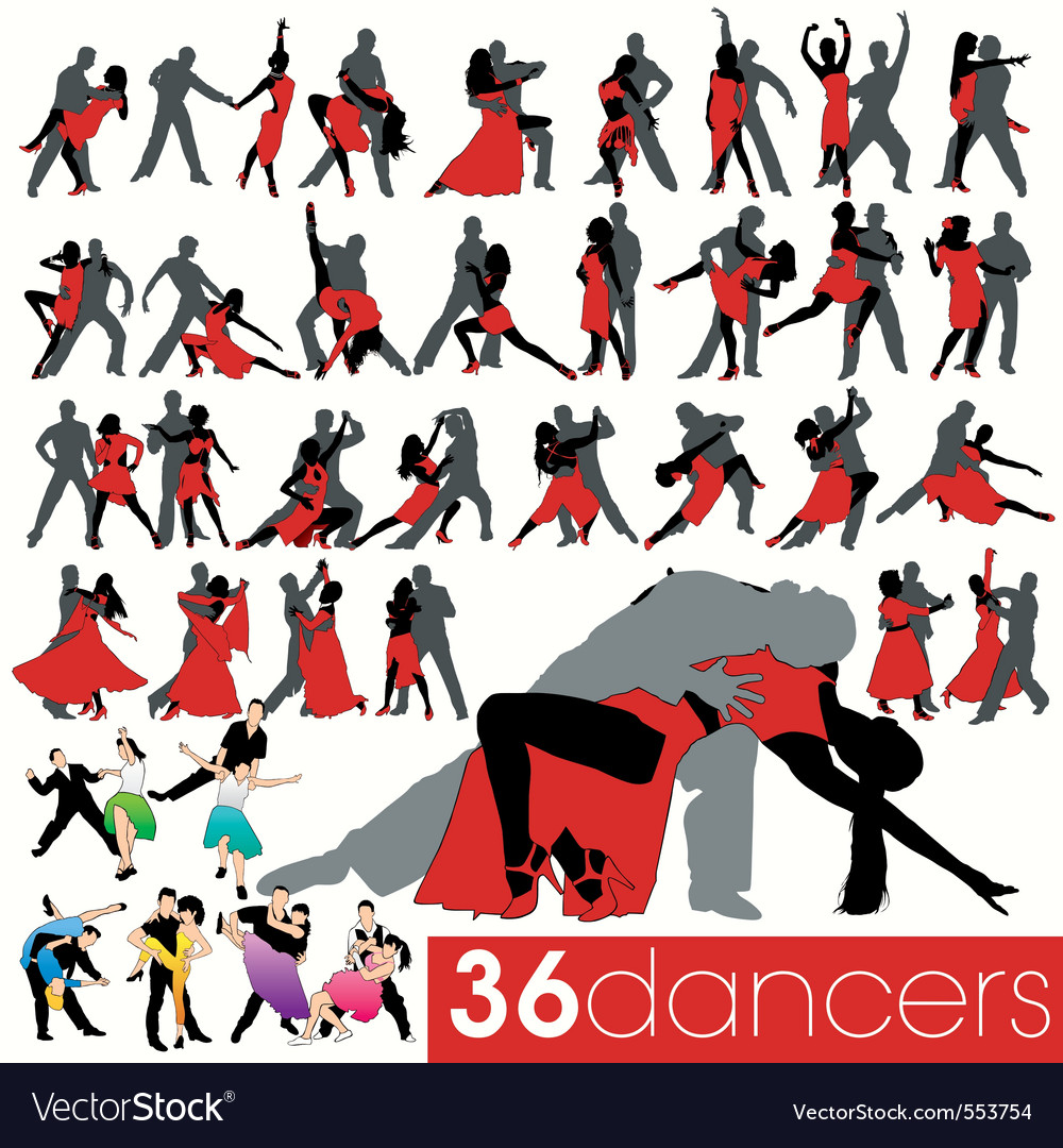 36 dancers silhouettes set vector | Price: 1 Credit (USD $1)