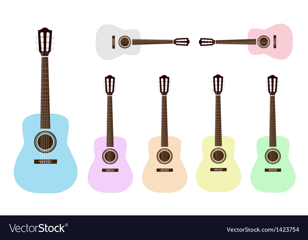 Beautiful colorful classical guitars vector | Price: 1 Credit (USD $1)