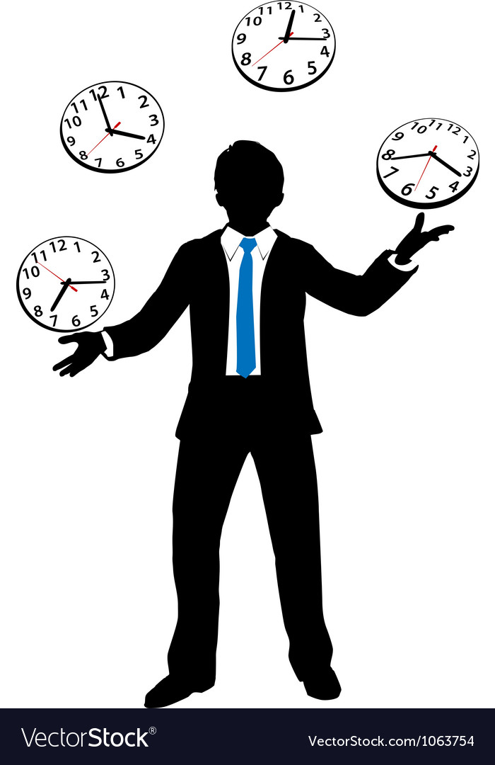 Busy business person juggles time clocks vector | Price: 1 Credit (USD $1)