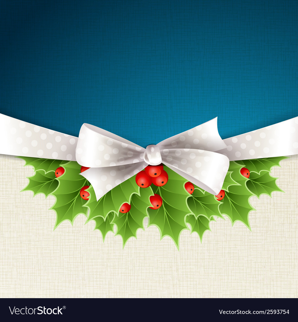 Christmas background with ribbon and holly vector | Price: 1 Credit (USD $1)