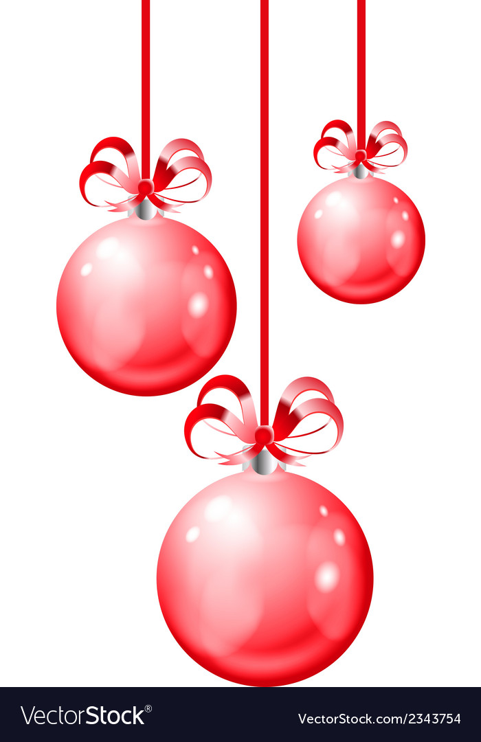 Christmas balls hanging with ribbon bows vector | Price: 1 Credit (USD $1)