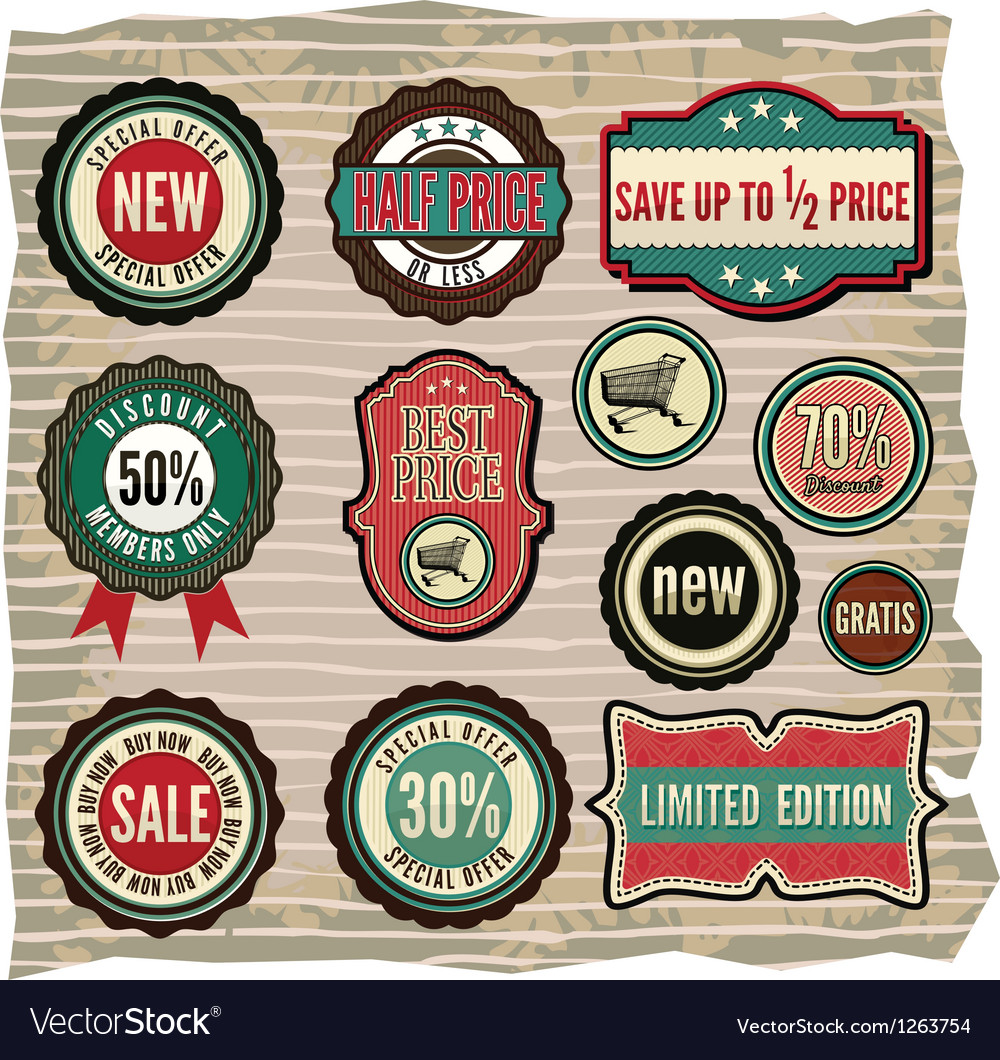 Collection of vintage retro grunge sale labels vector | Price: 3 Credit (USD $3)