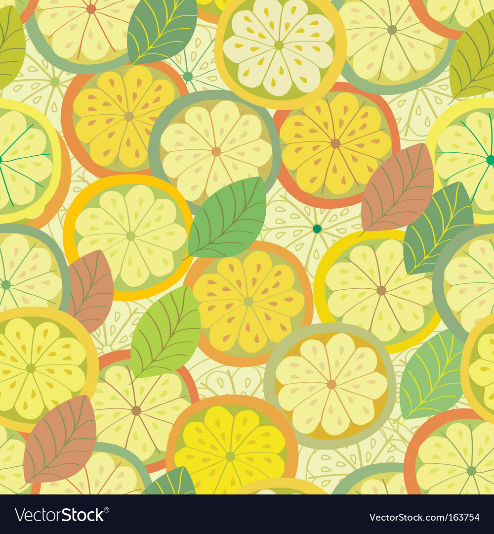 Lemon seamless pattern with leaves vector | Price: 1 Credit (USD $1)