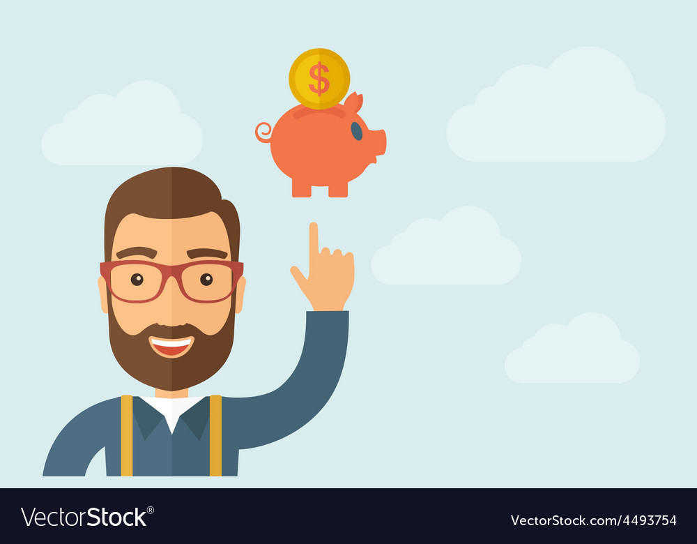 Man pointing the piggy bank icon vector   Price: 1 Credit (USD $1)