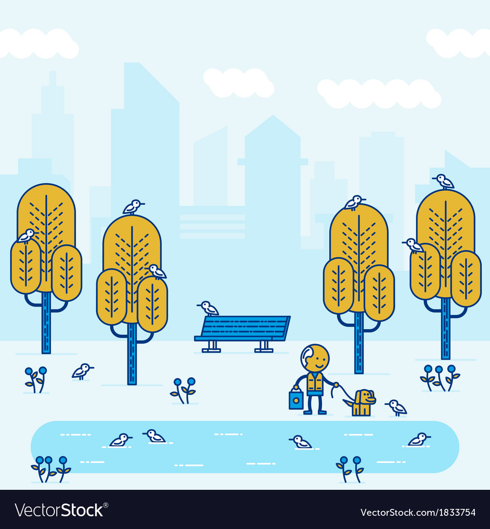 Park in big city vector | Price: 1 Credit (USD $1)