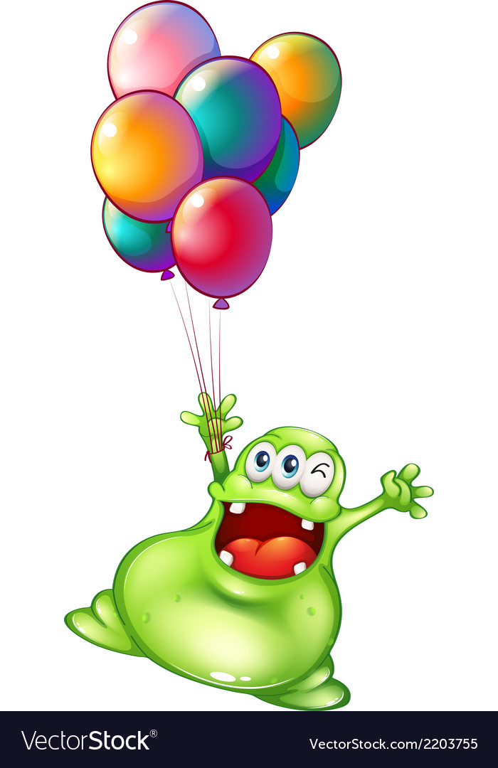 A monster with metallic balloons vector | Price: 1 Credit (USD $1)