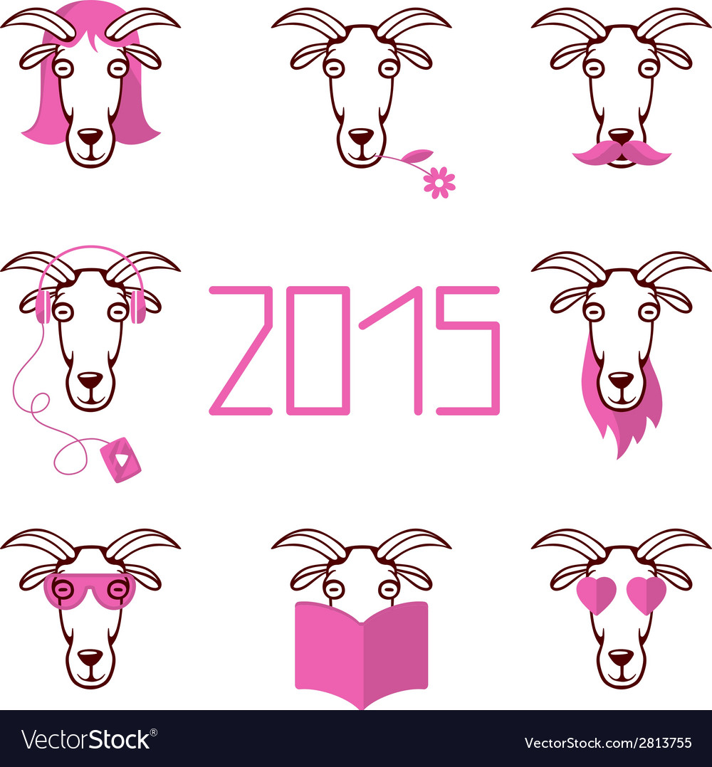 About the new year 2015 set heads of goat wi vector | Price: 1 Credit (USD $1)