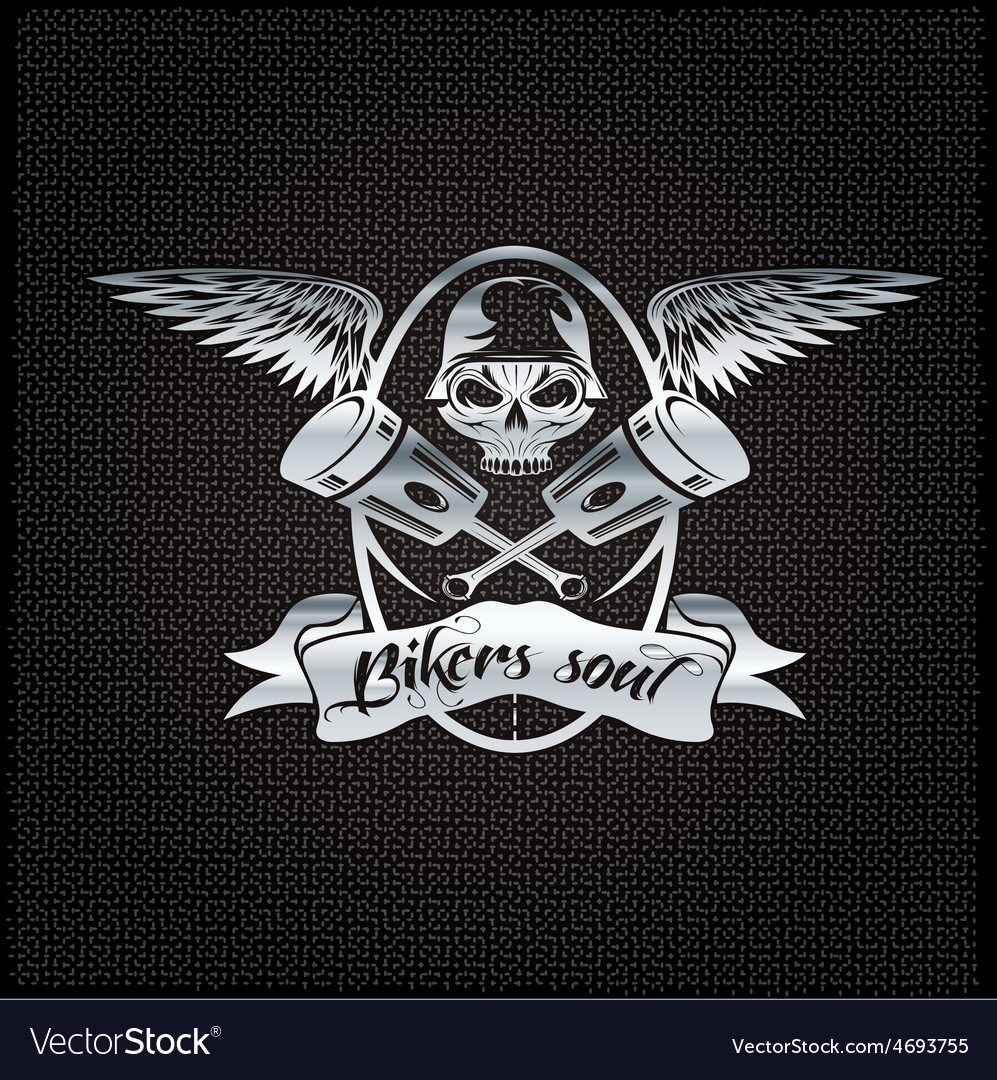 Bikers soul silver crest with skullwings and vector | Price: 1 Credit (USD $1)