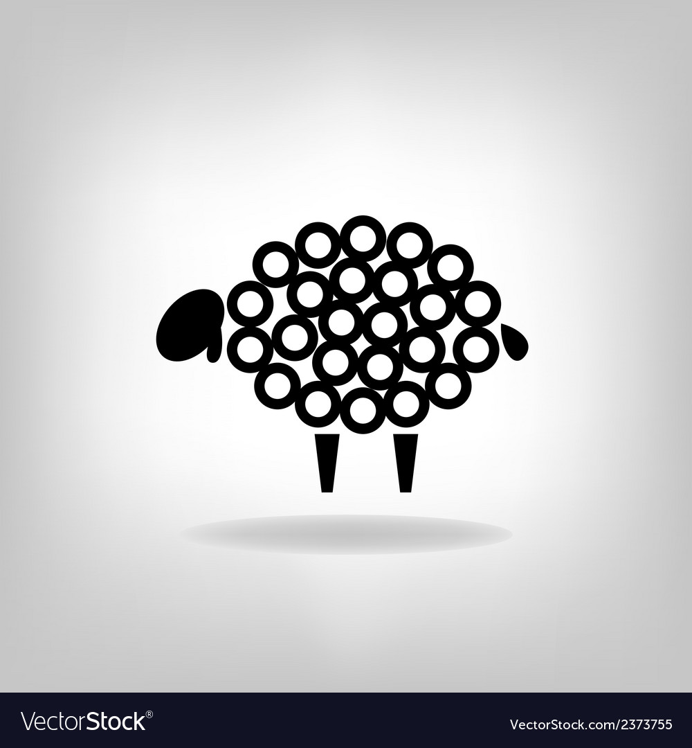 Black silhouette of sheep on a light background vector | Price: 1 Credit (USD $1)