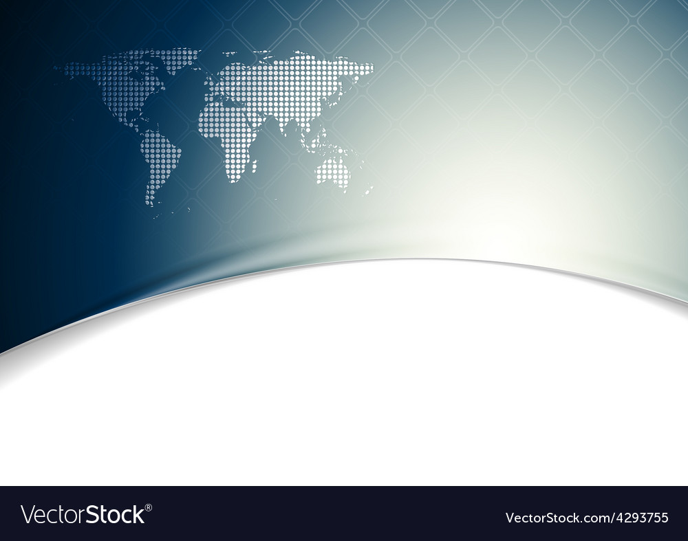 Blue wavy tech background with world map vector | Price: 1 Credit (USD $1)