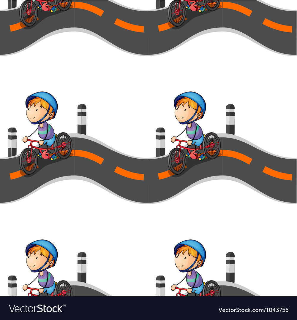 Boy riding on bicycle vector | Price: 1 Credit (USD $1)