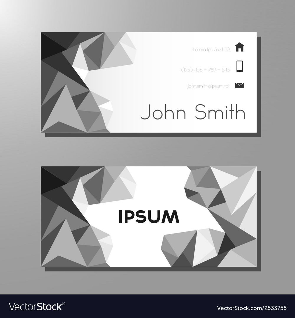 Business card template - black and white polygons vector | Price: 1 Credit (USD $1)