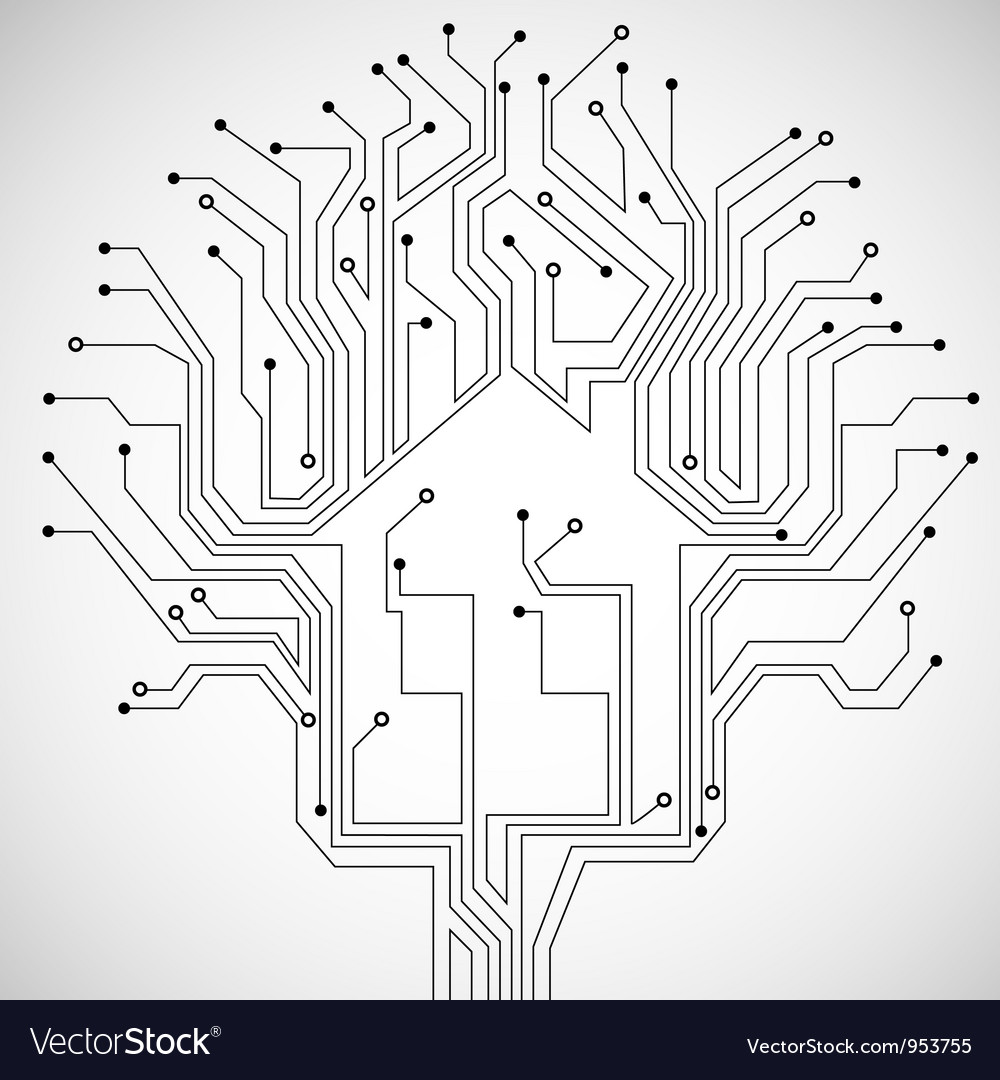 Circuit board house vector | Price: 1 Credit (USD $1)