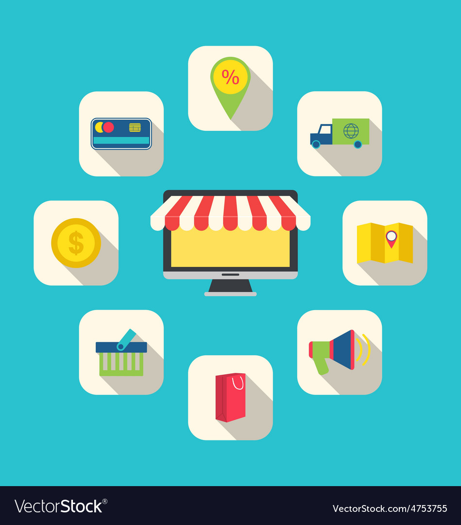 Flat icons of e-commerce shopping symbols vector | Price: 1 Credit (USD $1)