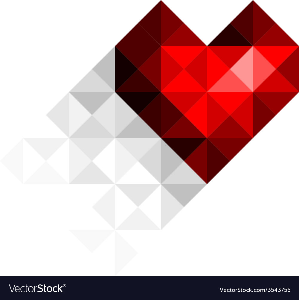 Heart with shadow vector | Price: 1 Credit (USD $1)