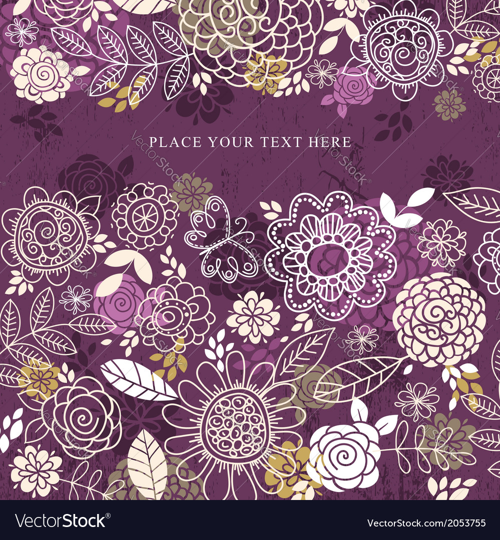Purple background of hand draw flowers vector | Price: 1 Credit (USD $1)