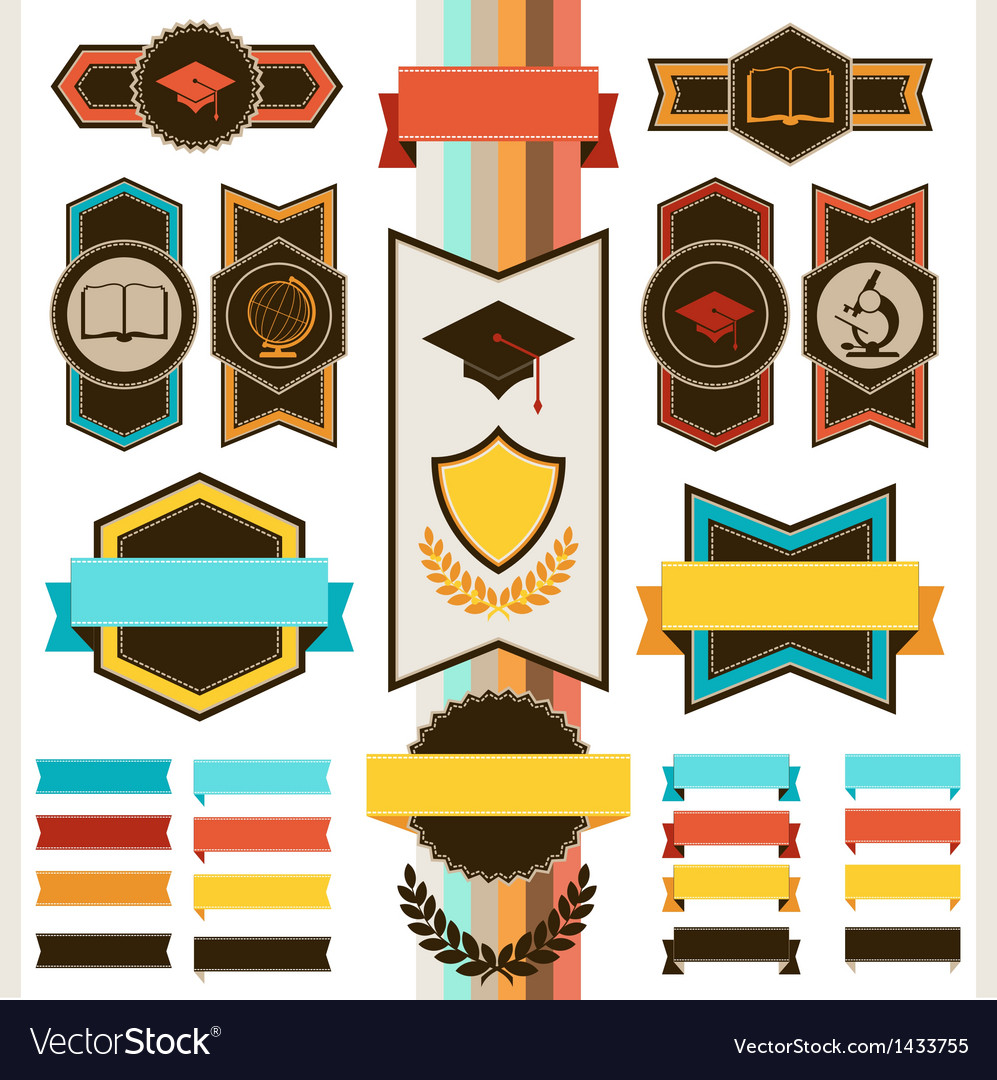 School education badges and ribbons vector | Price: 3 Credit (USD $3)