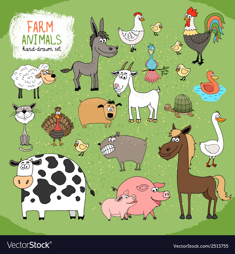 Set of handdrawn farm animals vector