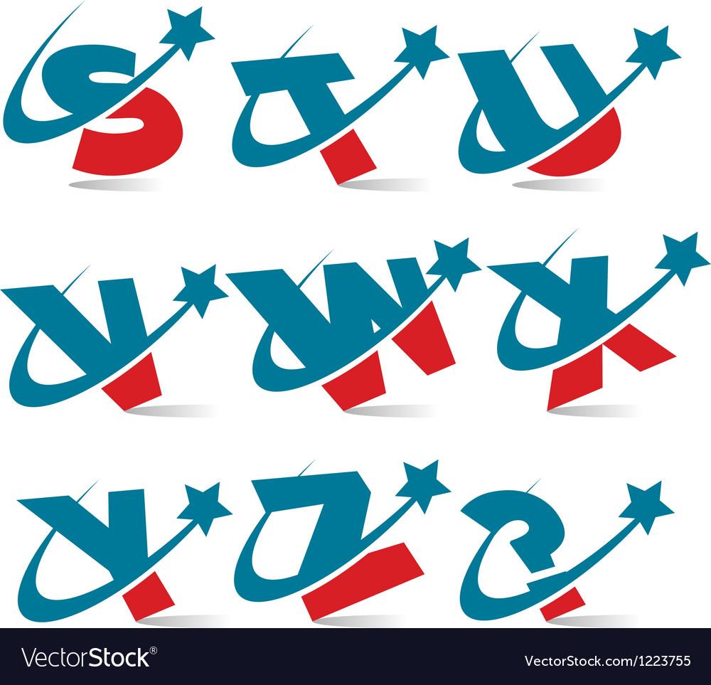 Swoosh patriotic alphabet set 3 vector | Price: 1 Credit (USD $1)