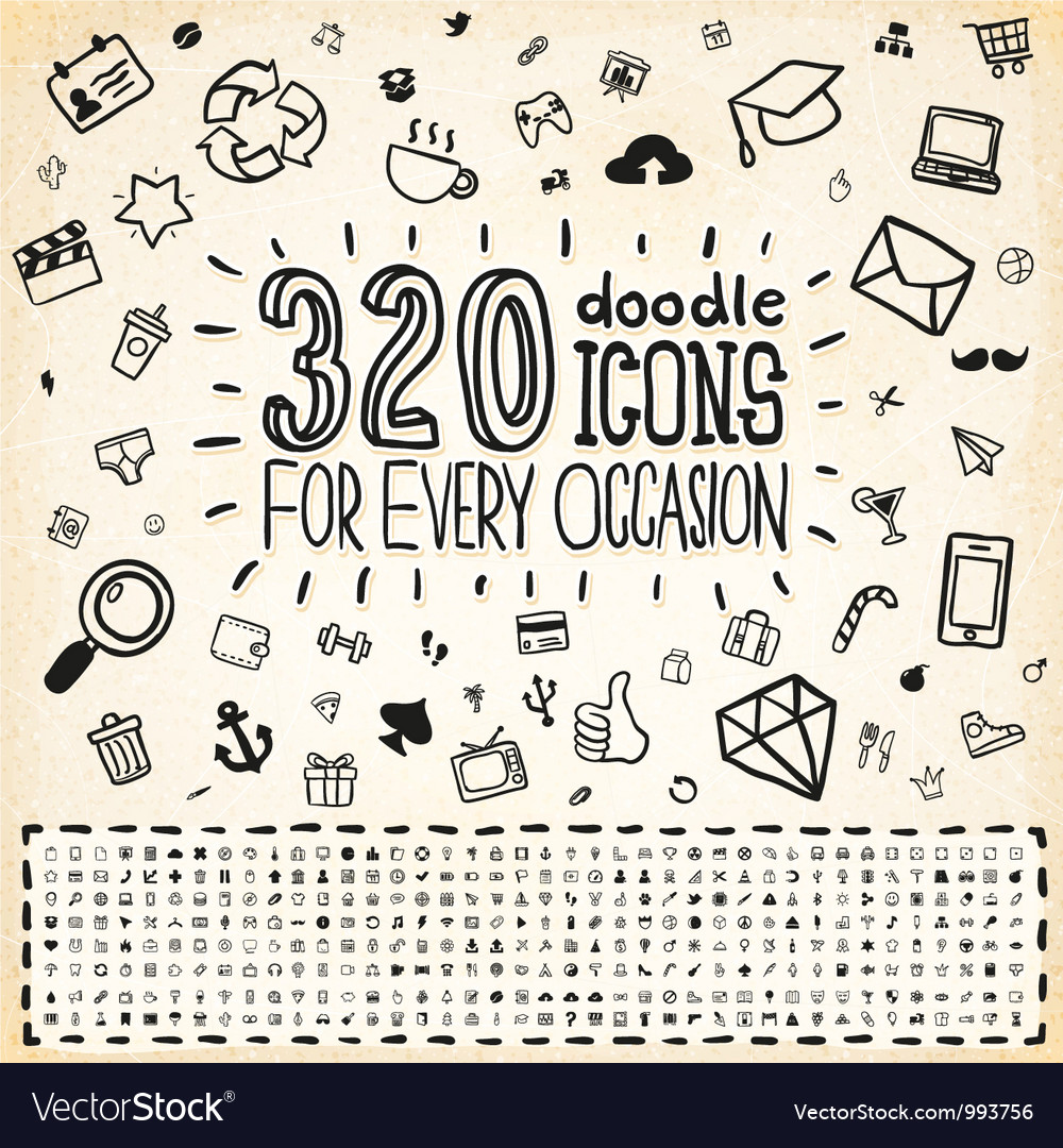 320 doodle icons universal set vector | Price: 3 Credit (USD $3)