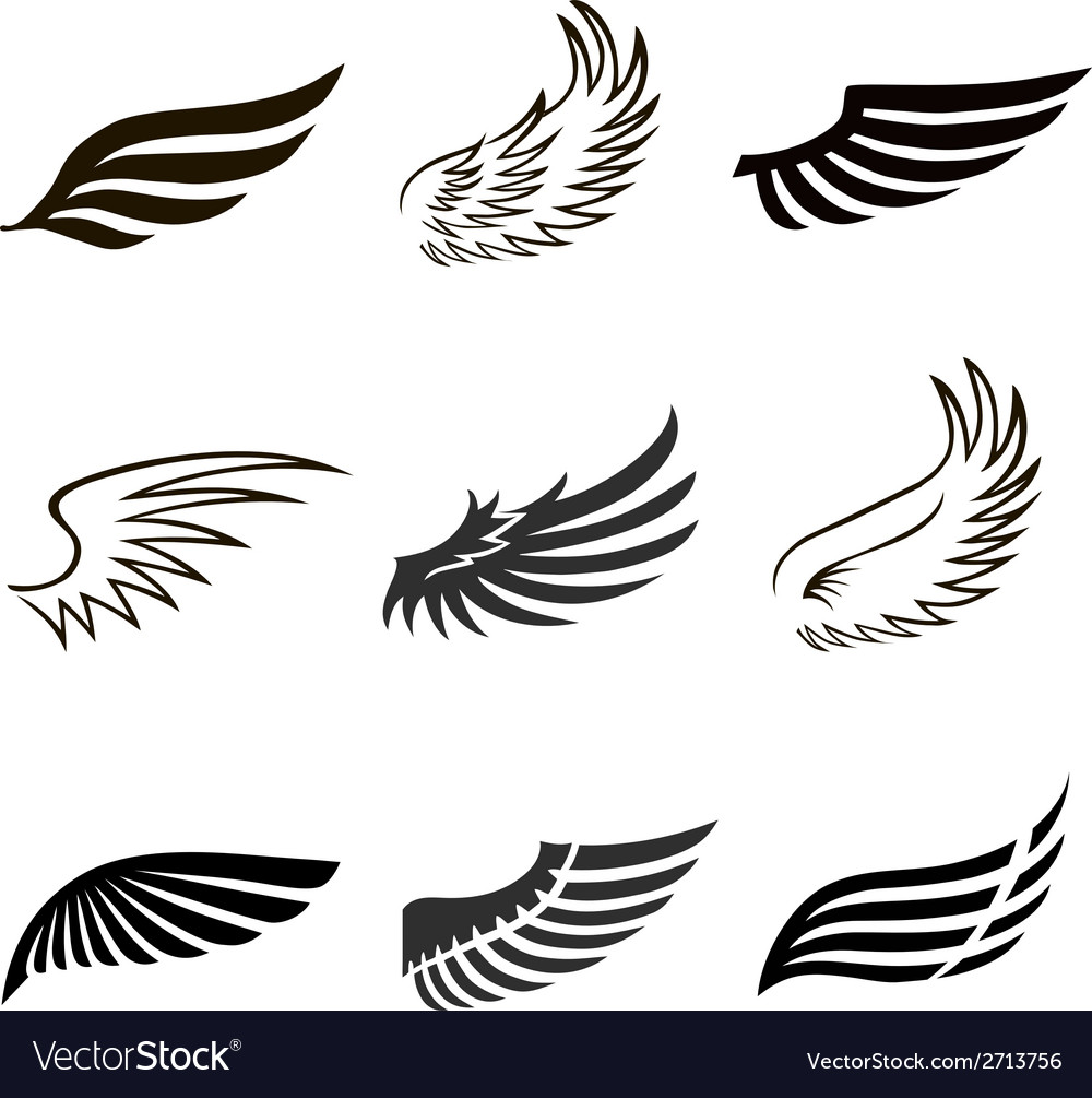 Abstract feather angel or bird wings icons set vector | Price: 1 Credit (USD $1)