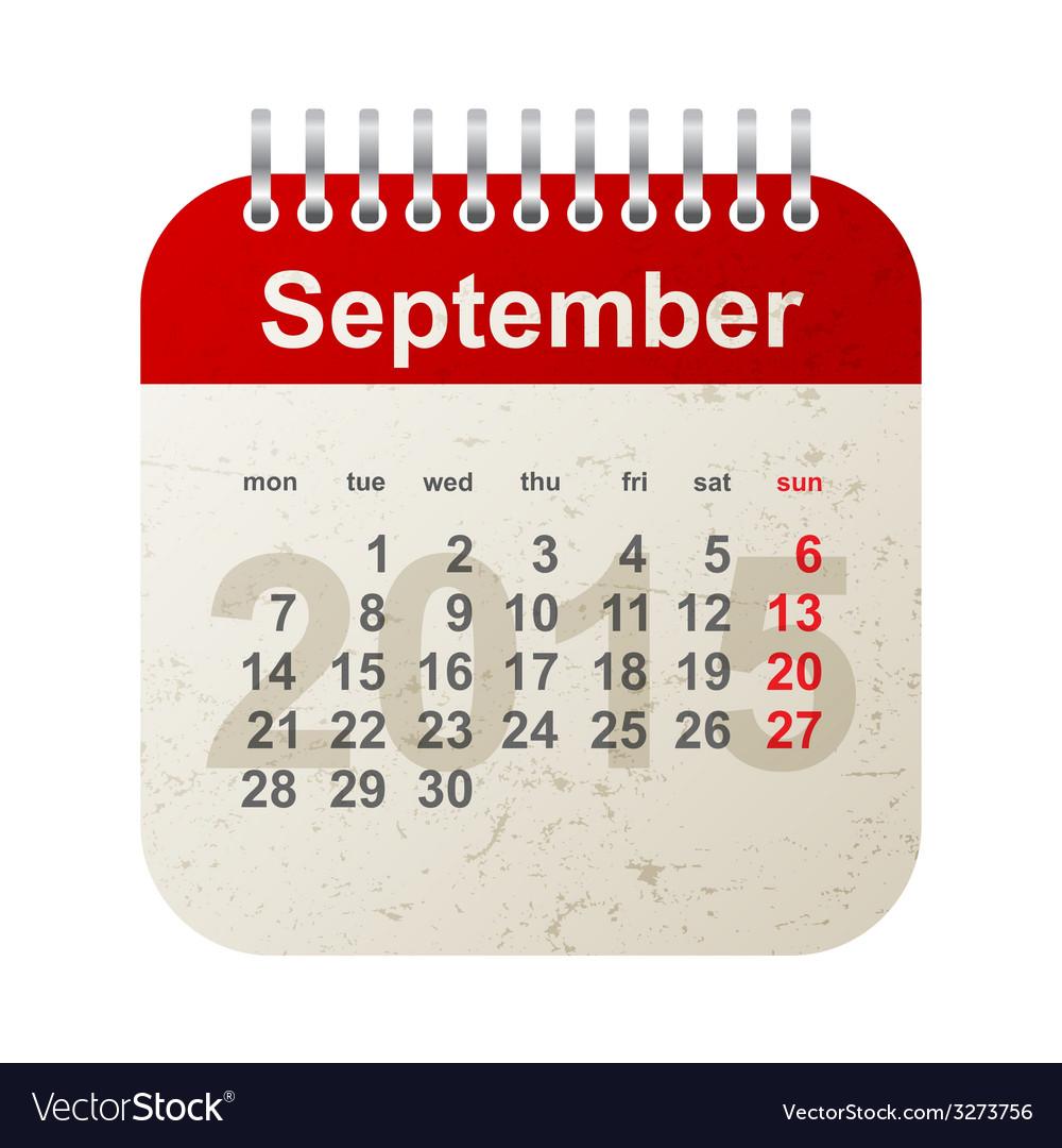 Calendar 2015 - september vector | Price: 1 Credit (USD $1)