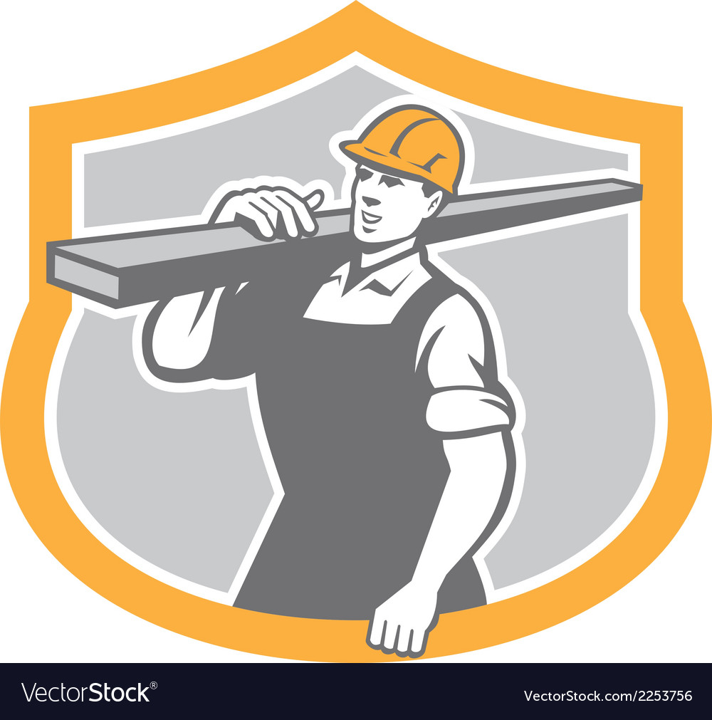 Carpenter carry lumber shield retro vector | Price: 1 Credit (USD $1)