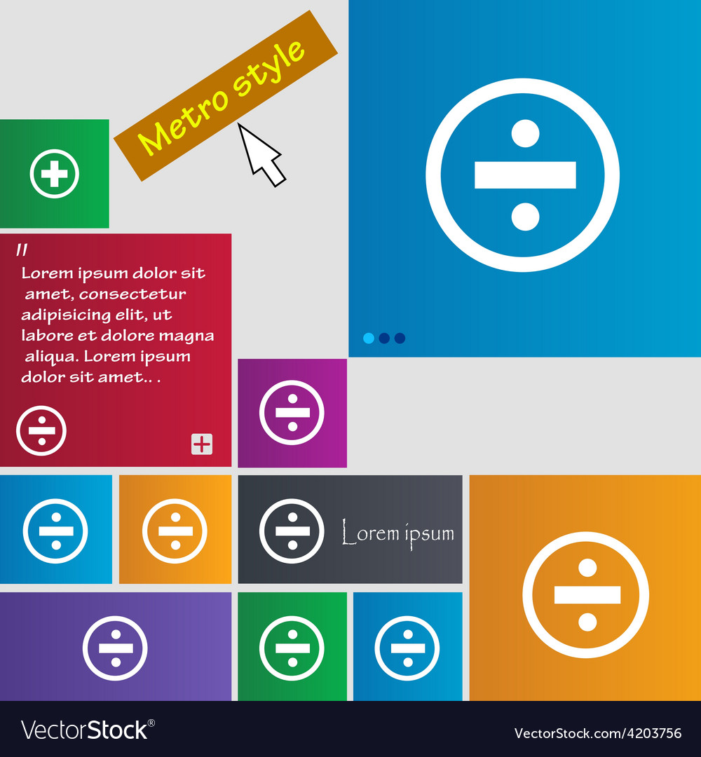 Dividing icon sign metro style buttons modern vector | Price: 1 Credit (USD $1)