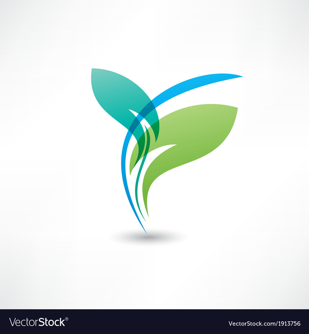 Eco leafs blue and green vector | Price: 1 Credit (USD $1)