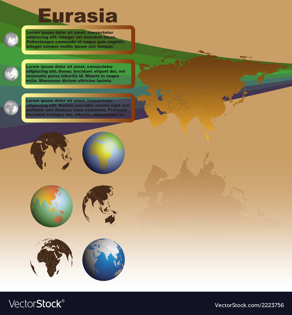 Eurasia map on brown background vector | Price: 1 Credit (USD $1)