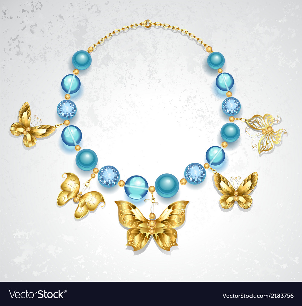 Necklace of golden butterflies vector | Price: 1 Credit (USD $1)