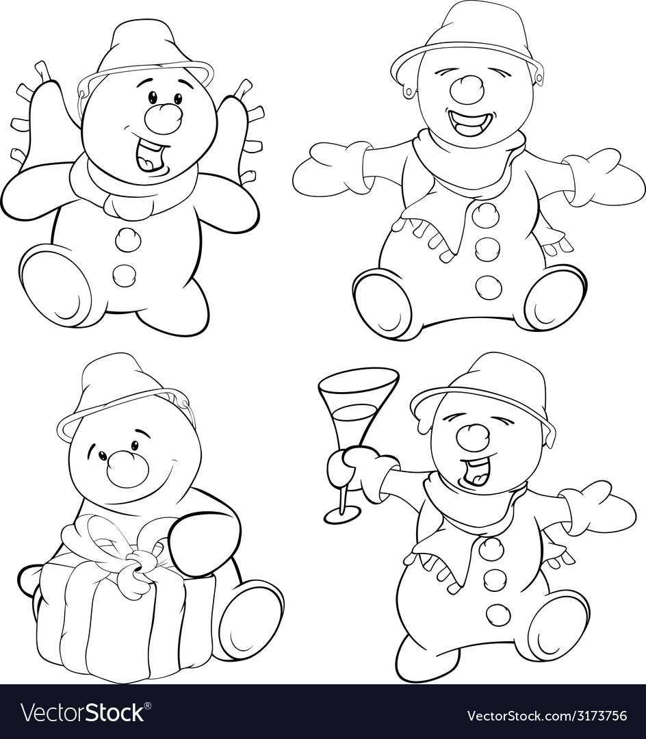 Set of funny christmas snowman vector | Price: 1 Credit (USD $1)