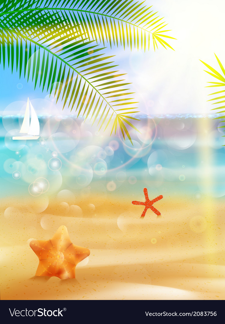 Summer beach background vector | Price: 1 Credit (USD $1)