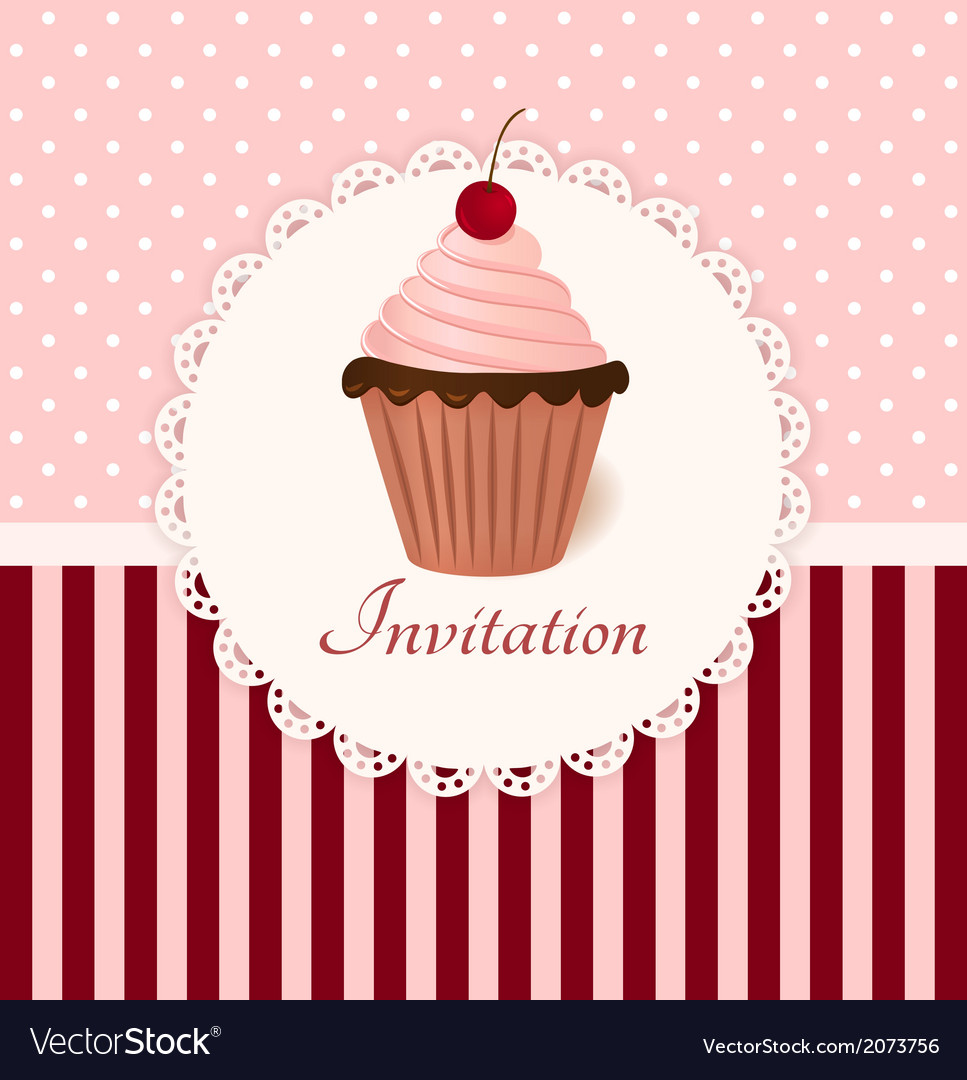 Vintage invitation card with cherry cream cake vector | Price: 1 Credit (USD $1)