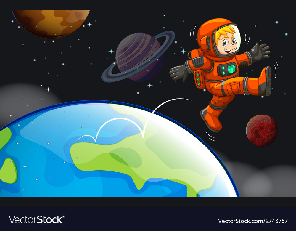 A happy astronaut in the sky vector | Price: 1 Credit (USD $1)