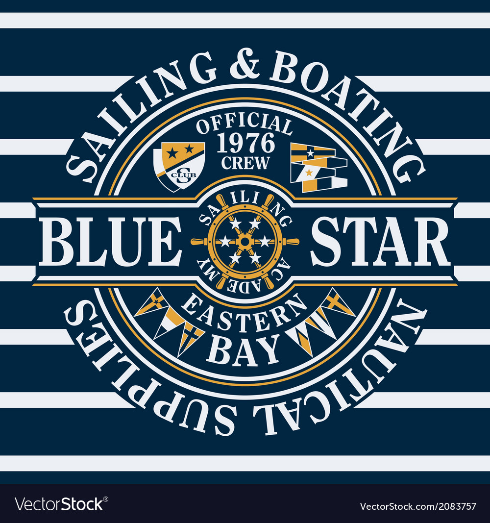 Blue star sailing and boating vector | Price: 1 Credit (USD $1)