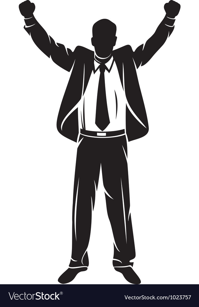 Businessman with arms up celebrating vector | Price: 1 Credit (USD $1)