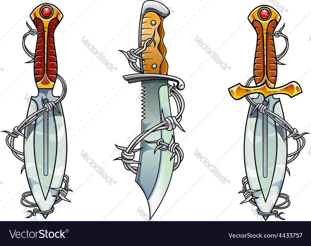Cartoon ancient daggers with barbed wire vector | Price: 1 Credit (USD $1)