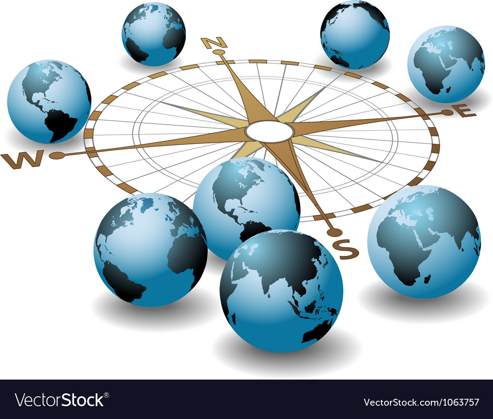 Compass points earth global directions vector | Price: 1 Credit (USD $1)