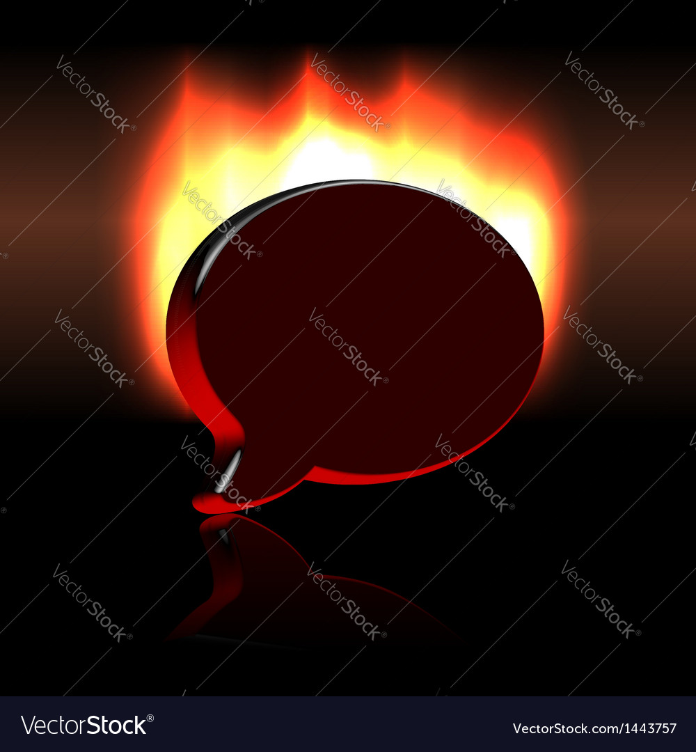 Conference balloon symbol sign over fire vector | Price: 1 Credit (USD $1)