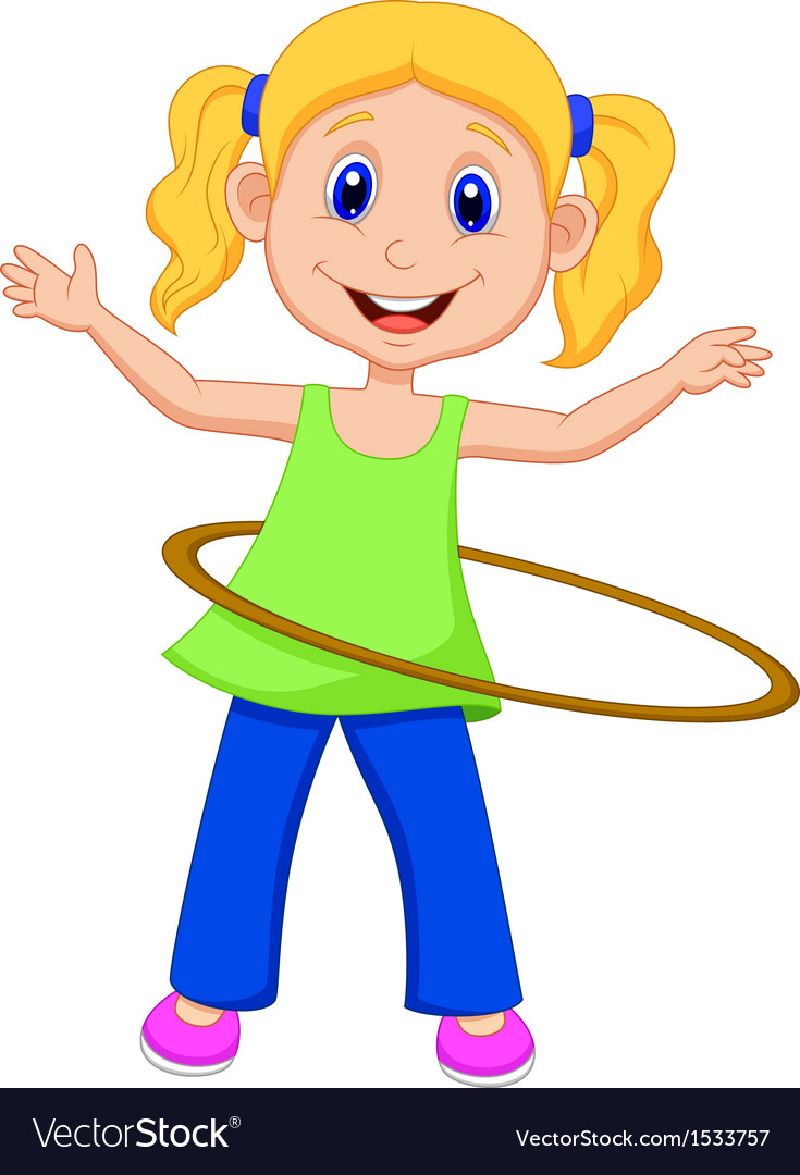 Cute girl twirling hula hoop vector | Price: 1 Credit (USD $1)