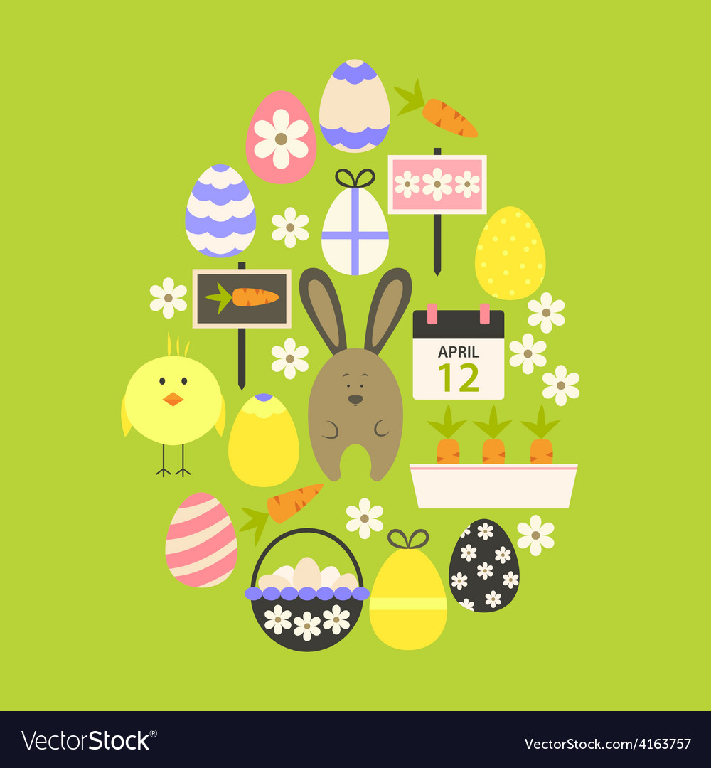 Easter flat icons set egg shaped over green vector | Price: 1 Credit (USD $1)