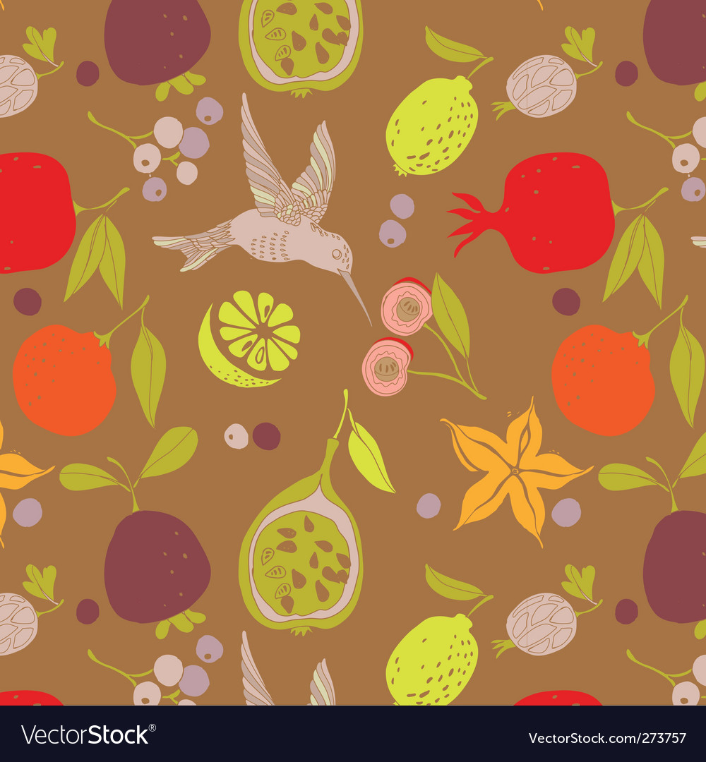 Fruit pattern with bird vector | Price: 1 Credit (USD $1)