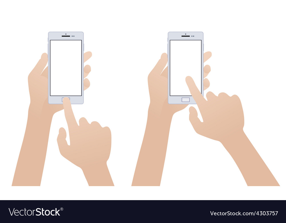 Hand holding white smartphone touching blank vector | Price: 1 Credit (USD $1)