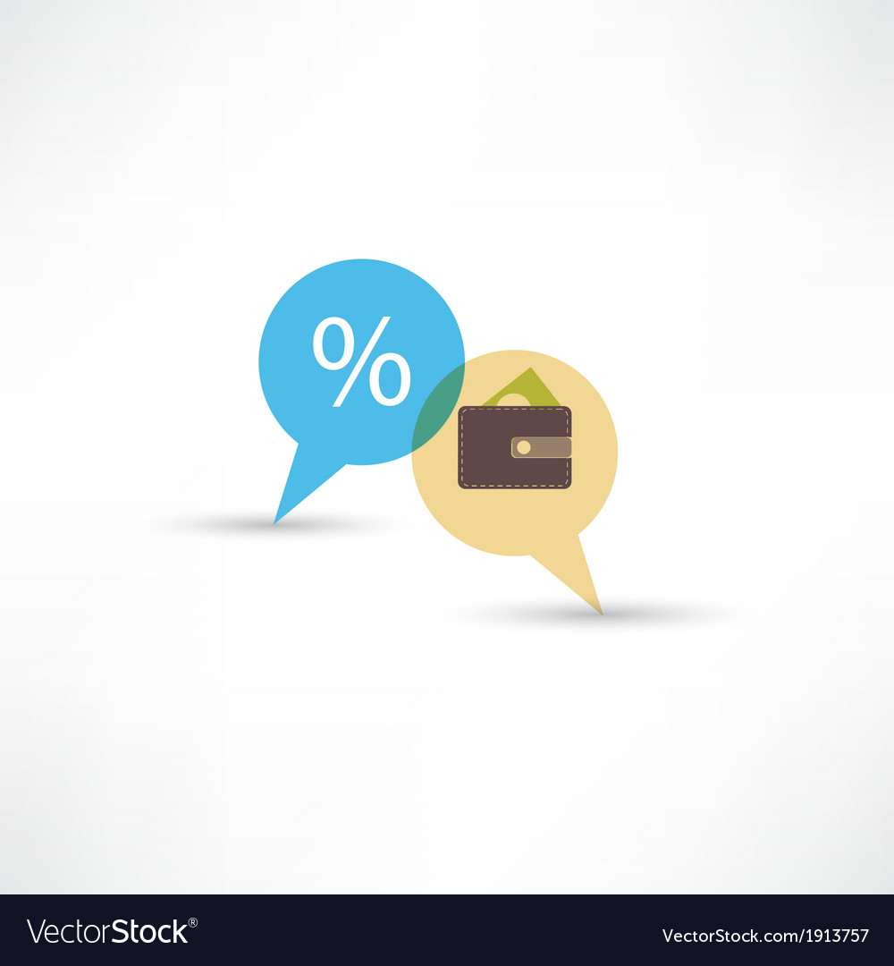 Purse and percent in bubble speech vector | Price: 1 Credit (USD $1)