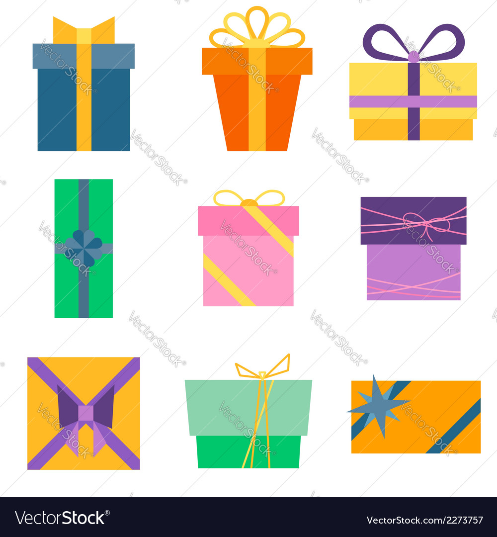 Set of nine colorful icons of gift boxes vector | Price: 1 Credit (USD $1)