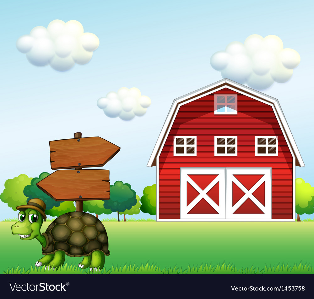 A turtle with a wooden arrow board and a barn at vector | Price: 1 Credit (USD $1)