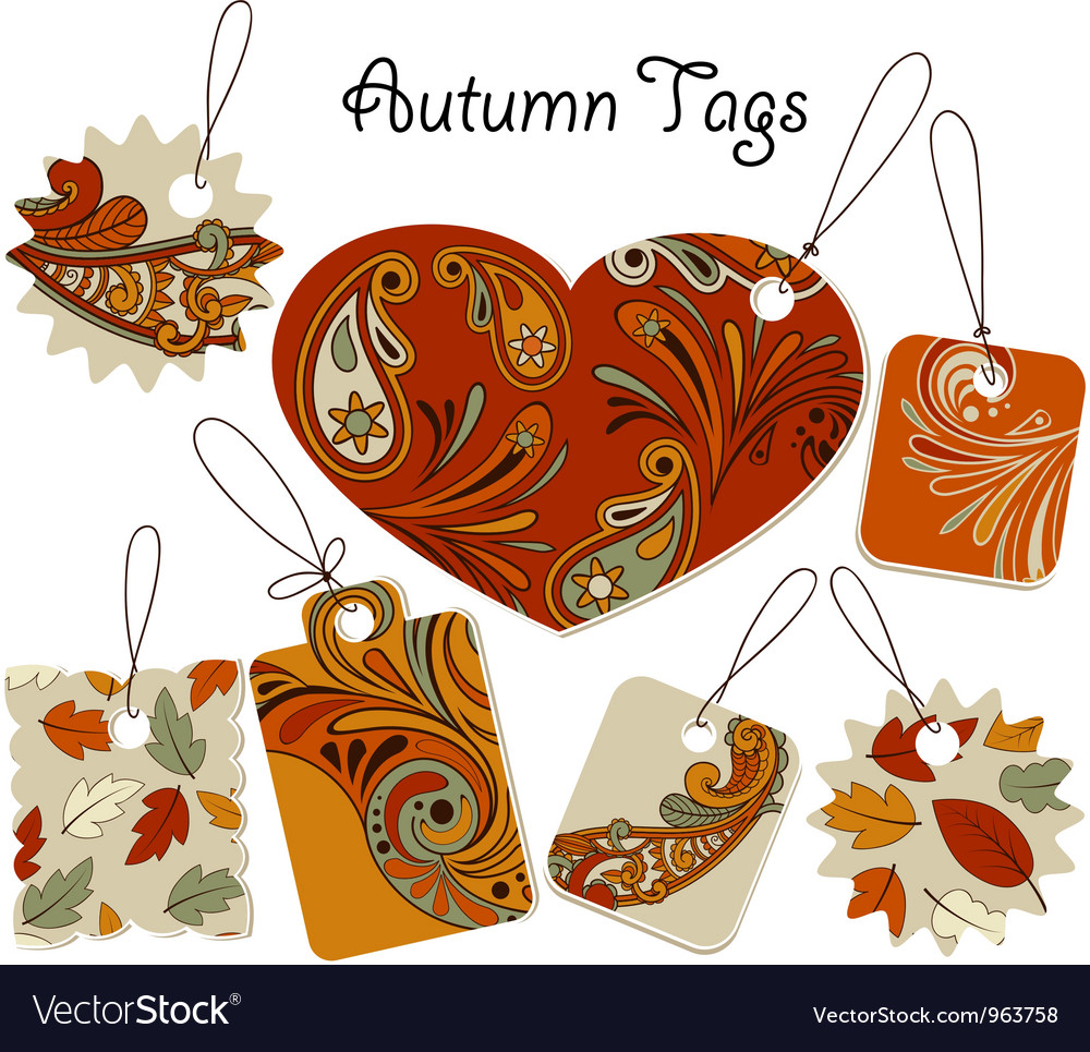 Autumn tags with floral patterns vector | Price: 1 Credit (USD $1)