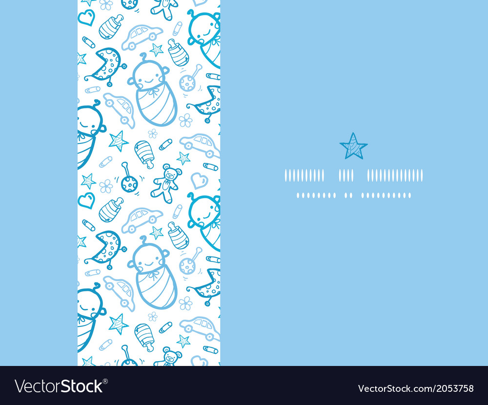 Baby boys horizontal frame seamless pattern vector | Price: 1 Credit (USD $1)