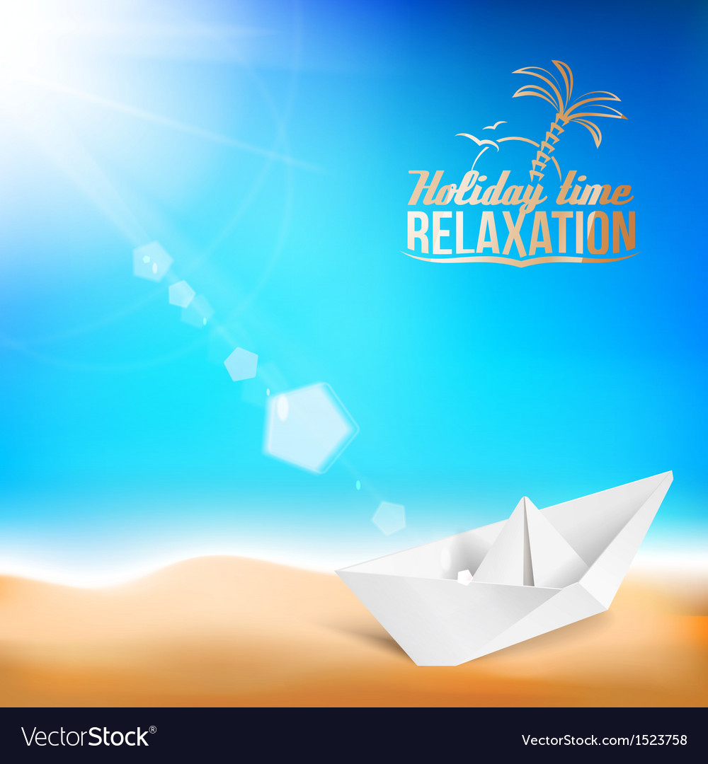 Beautiful background with a summer sea and ship vector | Price: 1 Credit (USD $1)